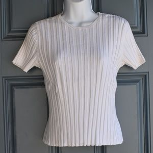 White Short Sleeve Ribbed Knit Top by Talbots Sz S